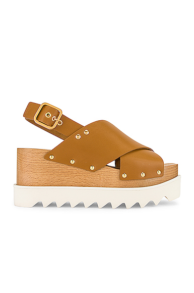 Stella Mccartney Studded Vegetarian Leather Platform Sandals In Neutrals