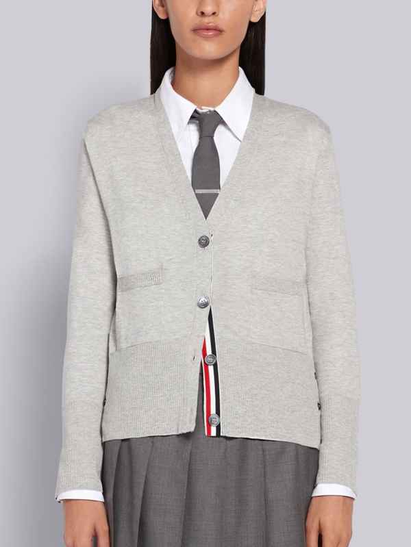 Thom Browne Relaxed Fit V-neck Cardigan In Grey
