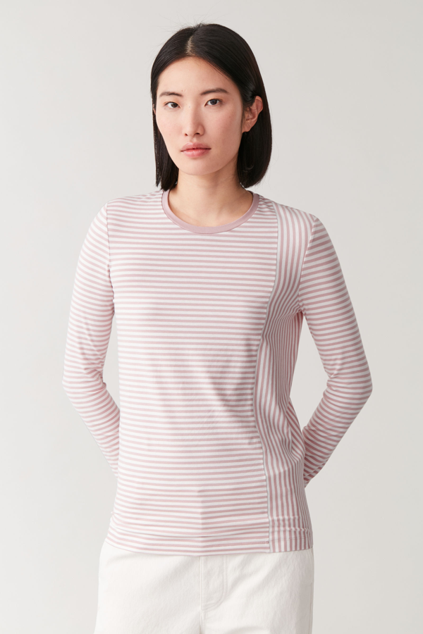 Cos Striped Organic Cotton Top In Pink
