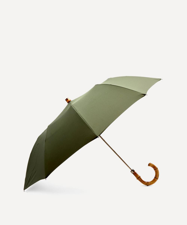 London Undercover Whangee Cane Crook Handle Telescopic Foldable Umbrella In Olive