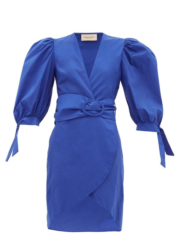 Adriana Degreas Majorelle Belted Cotton-taffeta Dress In Blue