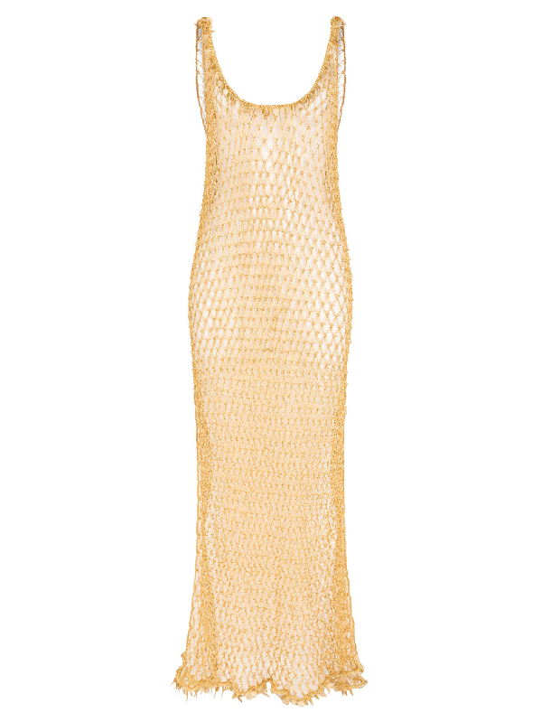 My Beachy Side Orpul Beaded Crochet Maxi Dress In Gold