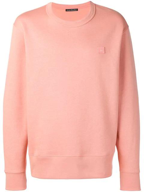 Acne Studios Forbra Oversized Face-patch Cotton Sweatshirt In Pale Pink