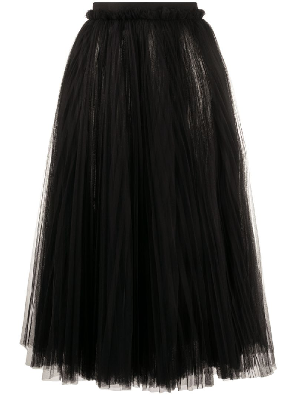 Dolce & Gabbana Layered Tulle Midi Skirt In Black