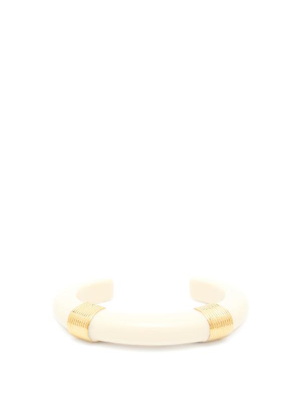 Aurelie Bidermann Katt Gold-plated And Resin Cuff In White