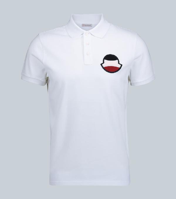 Moncler Logo-embroidered Cotton-piqué Polo Shirt In White