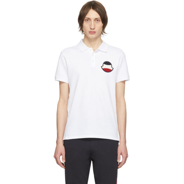 Moncler Logo-embroidered Cotton-piqué Polo Shirt In 001 White