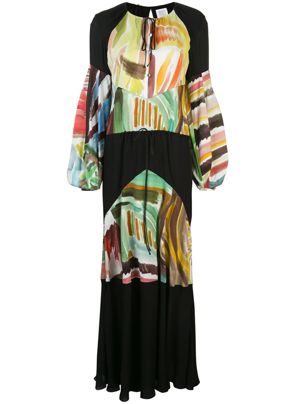 Rosie Assoulin Oversized Paneled Chiffon And Printed Silk Crepe De Chine Maxi Dress In Black