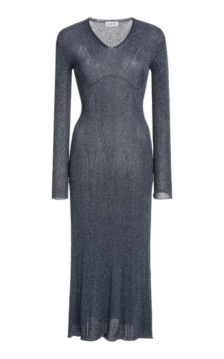 Lanvin Knitted Lurex Midi Dress In Grey