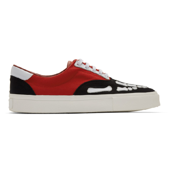 Amiri Skel Toe Leather-trimmed Colour-block Canvas Sneakers In Brw