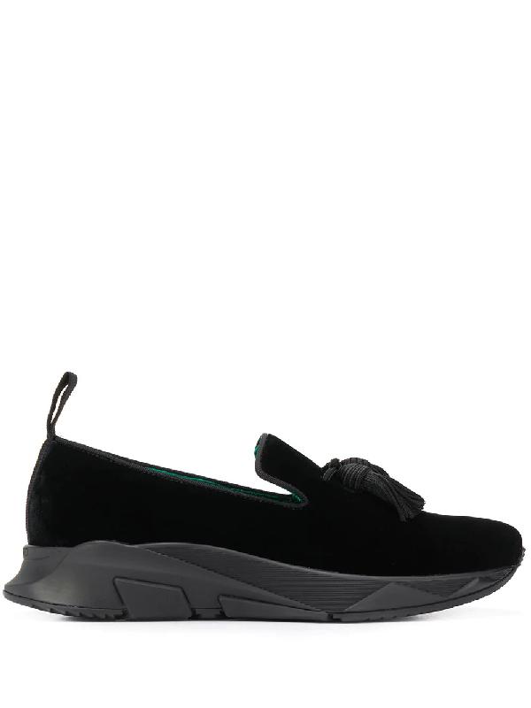 Tom Ford Tuner Velvet Tasselled Slip-on Sneakers In Black