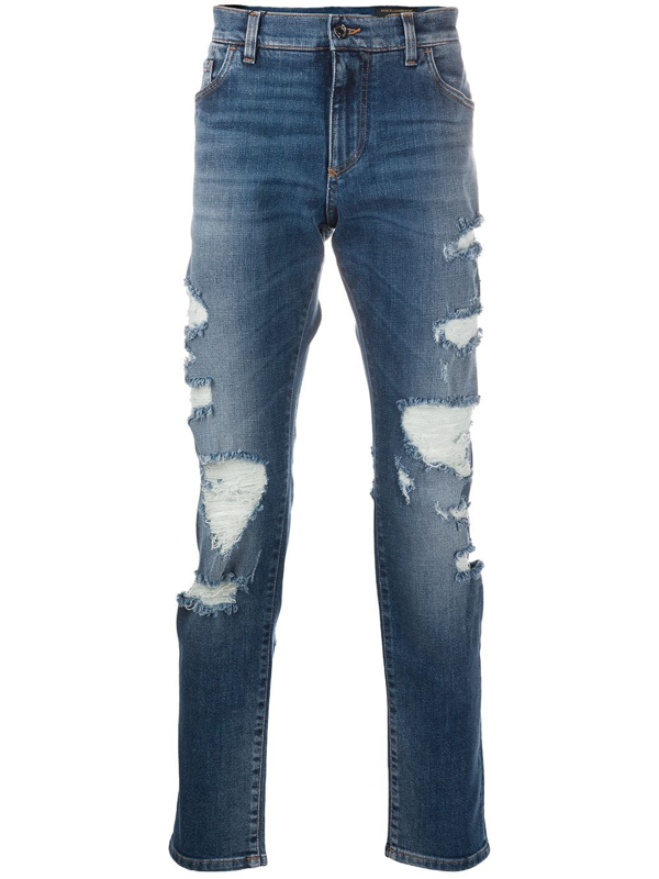 Dolce & Gabbana Distressed Slim-fit Jeans In Blue