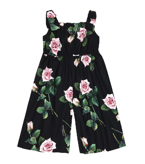 Dolce & Gabbana Kids' Girl's Popeline Rosa Rose Print Jumpsuit In Black
