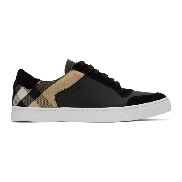 Burberry Men's Reeth Leather & House Check Low-top Sneakers, Black In Black ,multicolour