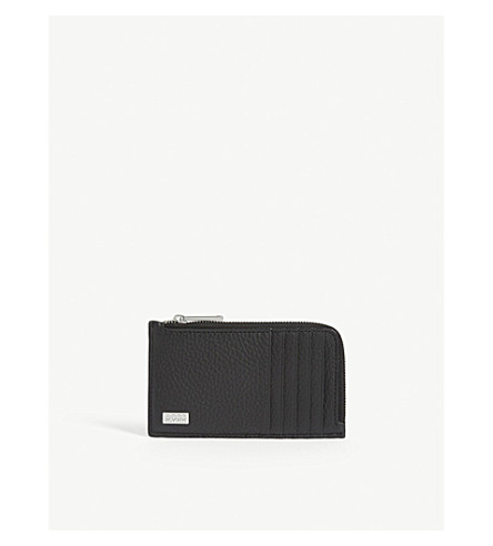 Hugo Boss Crosstown Leather Zip-around Wallet In Black