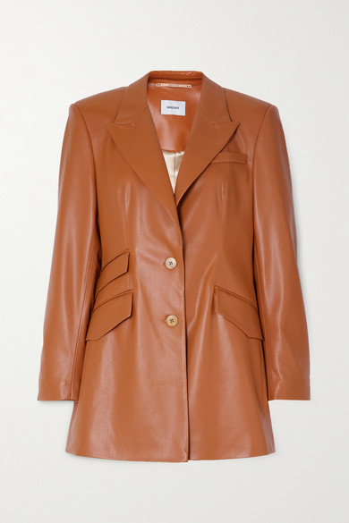Nanushka Cancun Burnt Orange Faux Leather Blazer In Camel