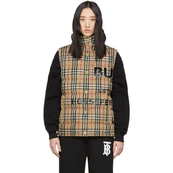 Burberry Sterling Horseferry Print Vintage Check Down Puffer Vest In Archive Bei