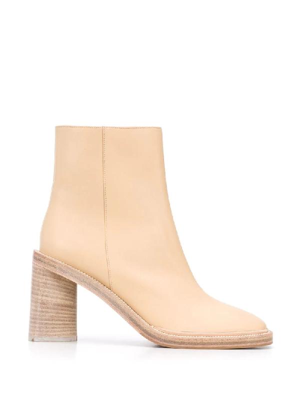Acne Studios Square-toe Leather Boots Ecru/beige In Neutrals
