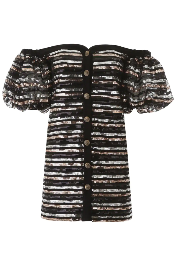 Philosophy Sequins Mini Dress In Black,silver,gold