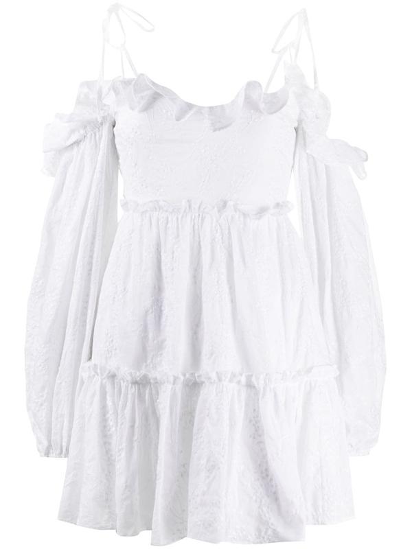 Wandering Women's Off-the-shoulder Blouson-sleeve Lace Mini Dress In White