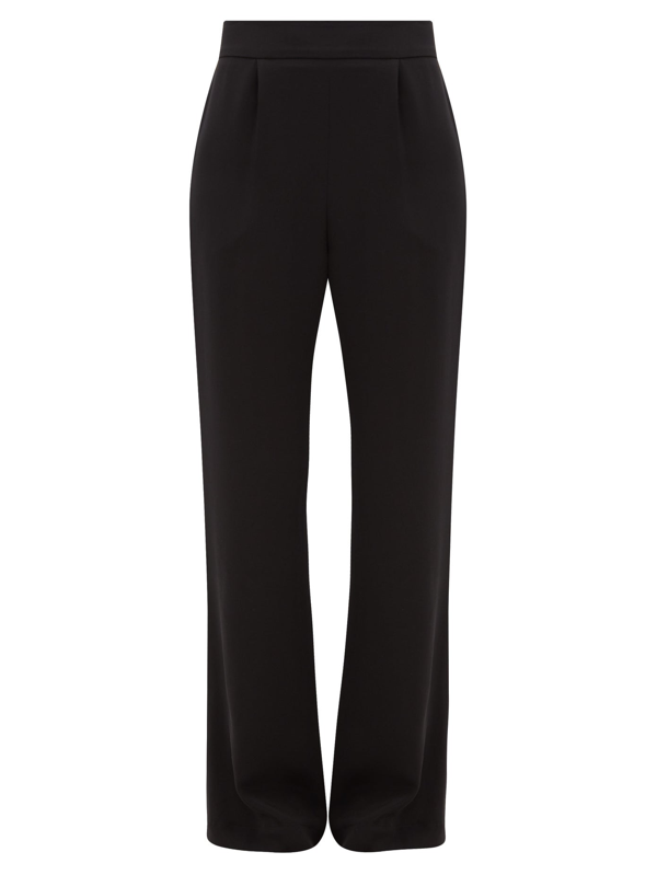 La Collection Gabrielle Wide-leg Silk-crepe Trousers In Black