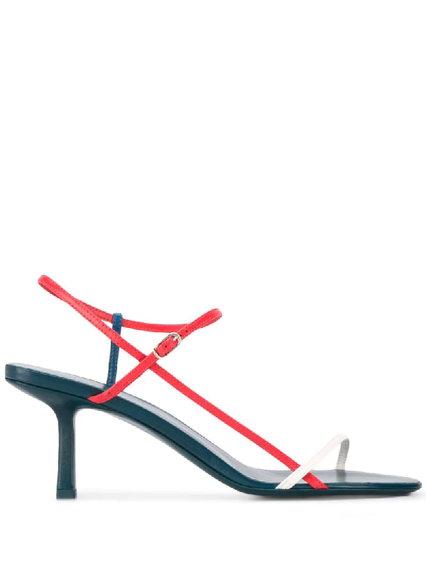 The Row Bare Tri-colour Leather Sandals In Green