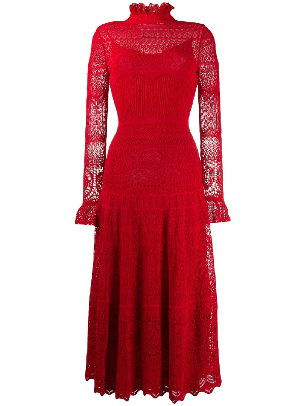 Alexander Mcqueen Ruffled Crocheted Cotton-blend Lace Maxi Dress In Red