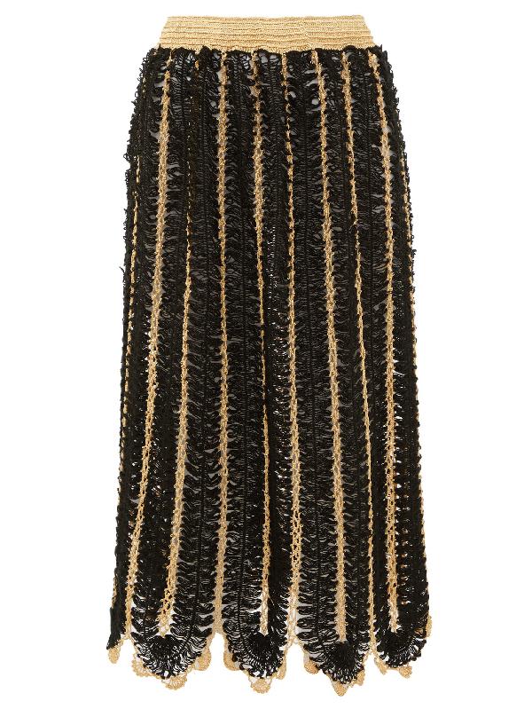 My Beachy Side Firtek Scalloped-hem Crochet Midi Skirt In Black