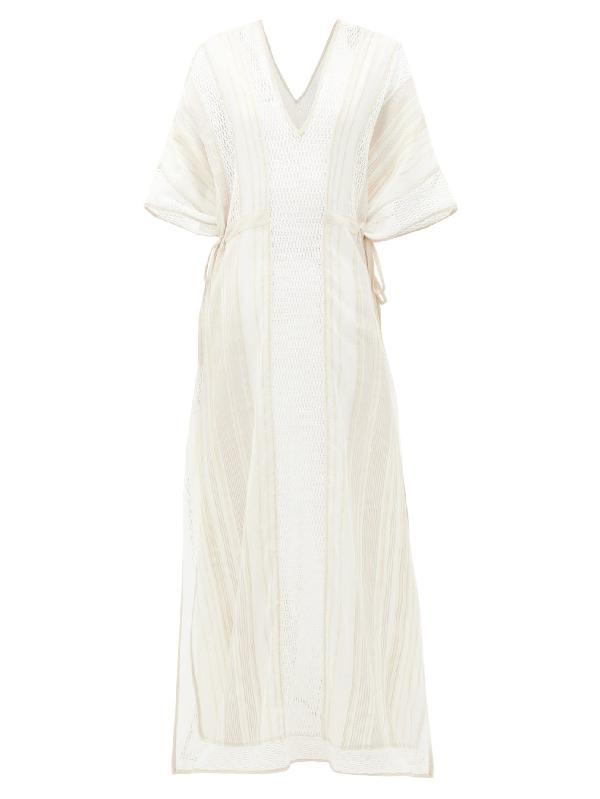 My Beachy Side Kafras Metallic Cotton-voile Maxi Dress In Tan