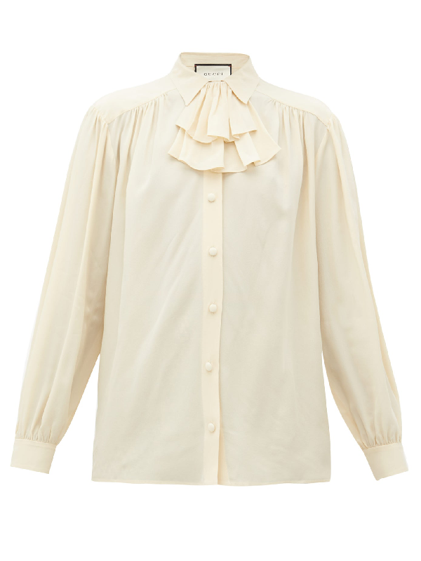 Gucci Ruffle-neck Silk Blouse In Ivory