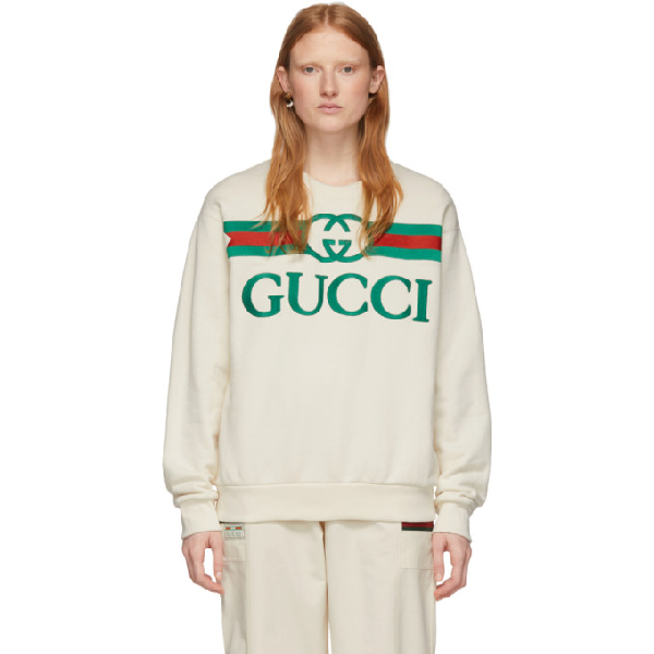 Gucci Logo-embroidered Loopback Cotton-jersey Sweater In 9230 Garden