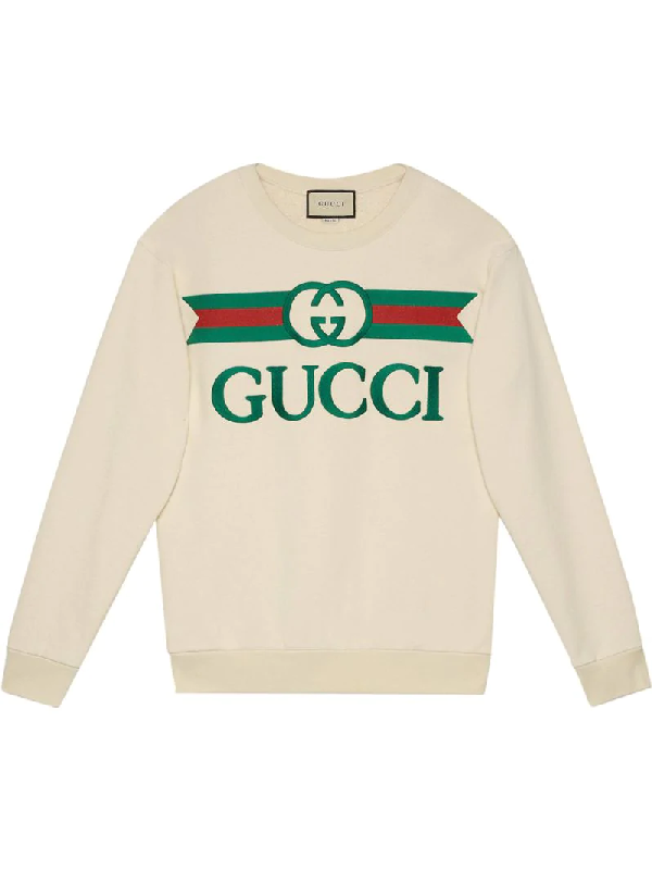 Gucci Logo-embroidered Loopback Cotton-jersey Sweater In White