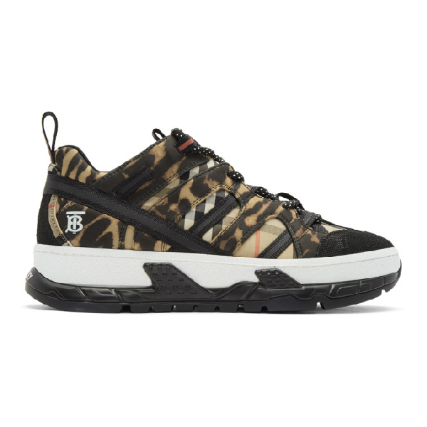 Burberry Leopard Print Neoprene And Cotton Union Sneakers In Archive Bei