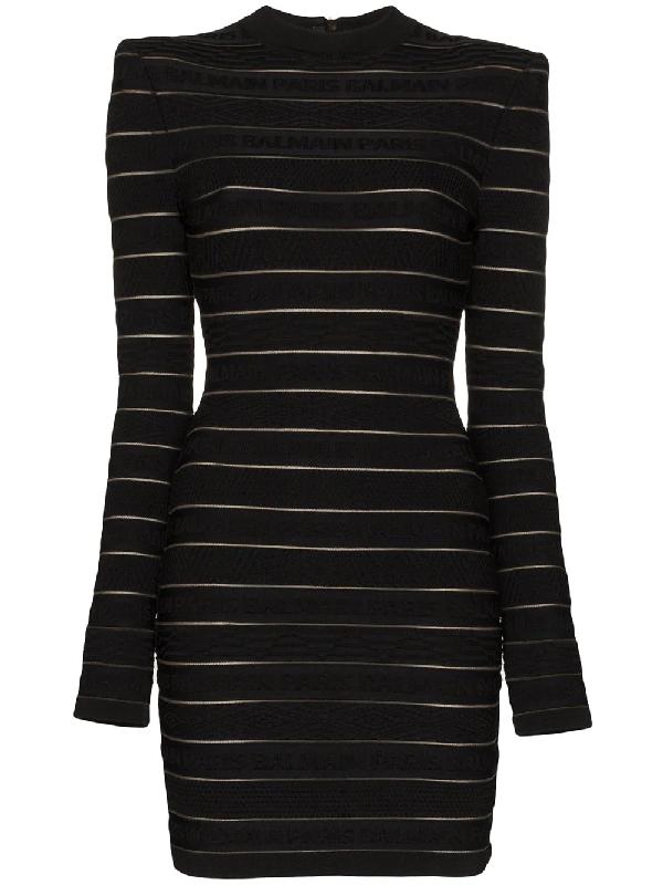 Balmain Sheer Logo Stripe Long Sleeve Sweater Minidress In Black