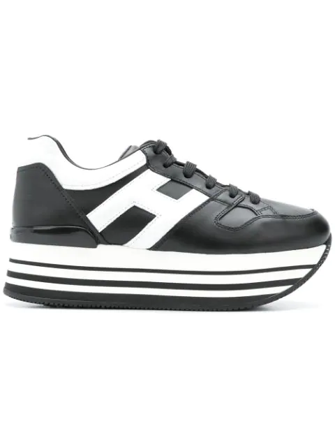 Hogan 283 Leather Sneakers With Big H And Maxi 222 Platform Sole In Black