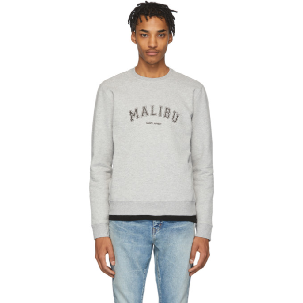 Saint Laurent Slim-fit Printed MÉlange Fleece-back Cotton-blend Jersey Sweatshirt In Grey
