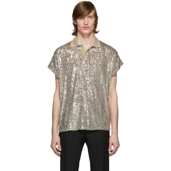 Saint Laurent Sequinned Metallic Stretch-jersey Polo Shirt In Champagne