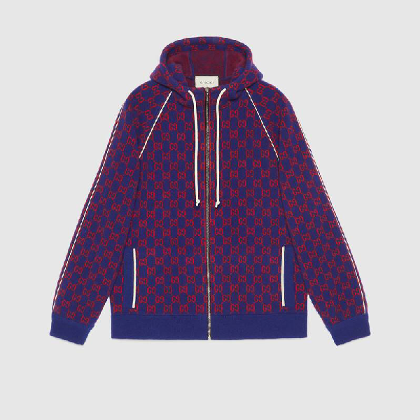 Gucci Logo-jacquard Wool And Cashmere-blend Zip-up Hoodie In Blue