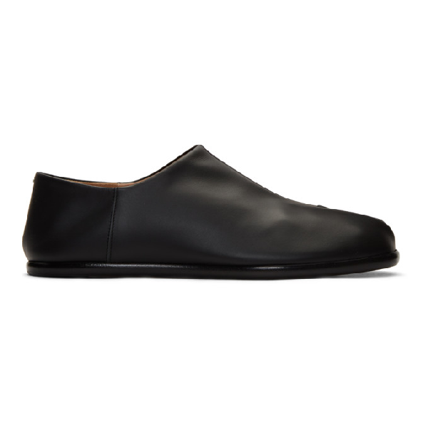 Maison Margiela Tabi Collapsible-heel Split-toe Leather Loafers In 900 Black