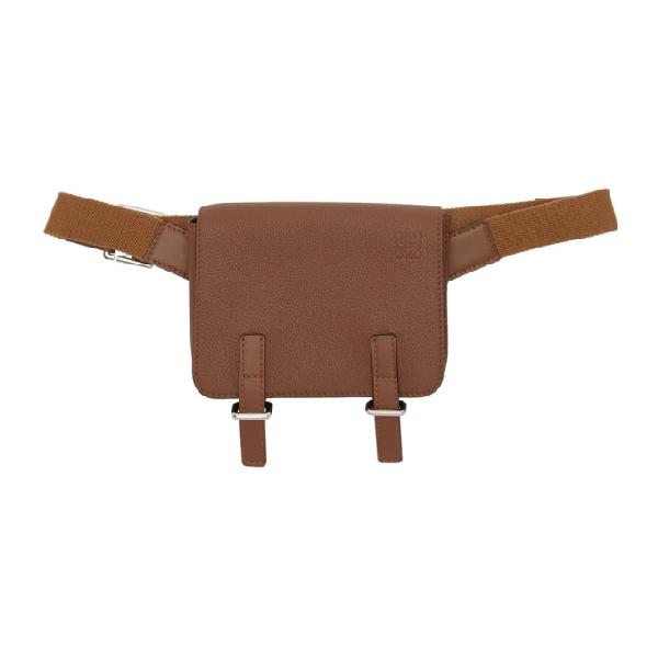 Loewe Military Full-grain Leather Messenger Bag In 3200 Cognac