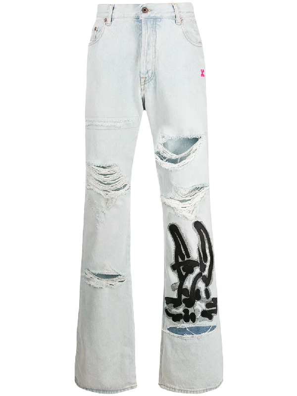 Off-white Ev Bravado Distressed AppliquÉd Denim Jeans In Blue