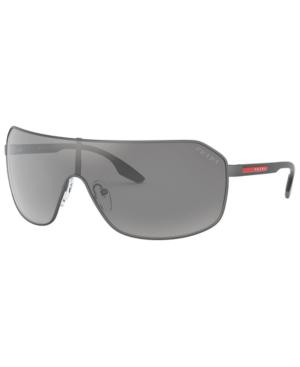 Prada Men's Sport Shield Sunglasses, 158mm In Matte Gray/light Gray Mirror Silver