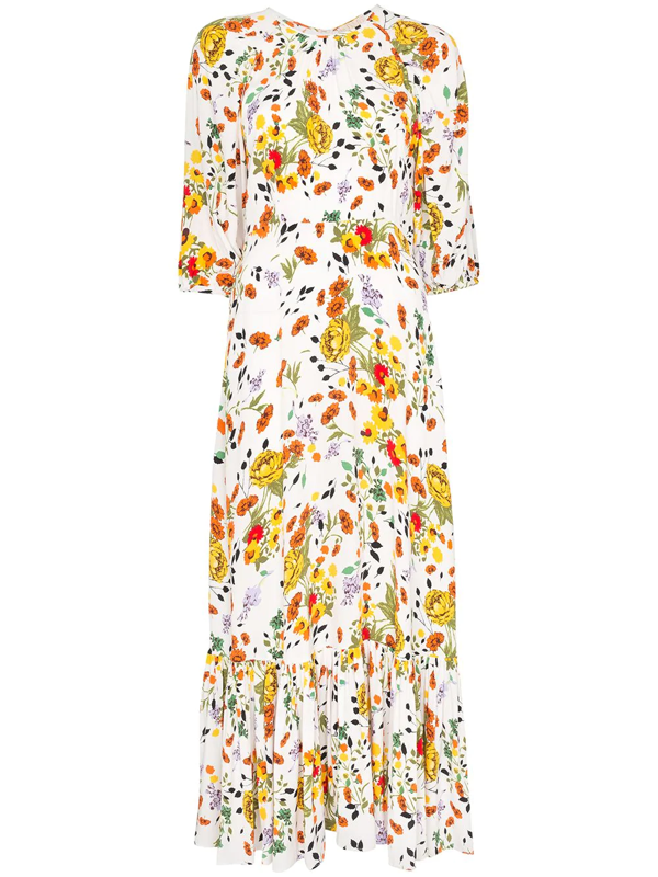Bytimo Floral Print Tie-waist Maxi Dress In White