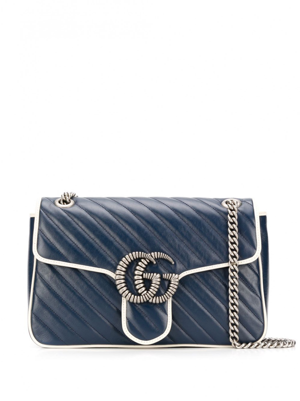 Gucci Gg Marmont Leather Shoulder Bag In Blue