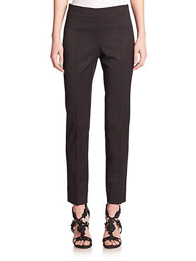 Oscar De La Renta Stretch Wool Straight-leg Pants In Black