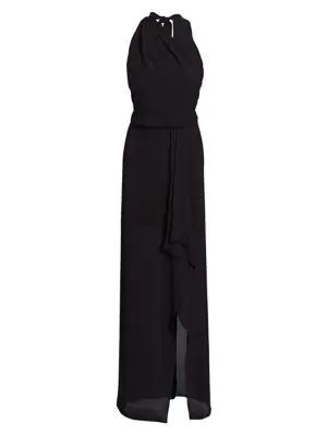 Halston Women's Asymmetric Draped Gown In Black