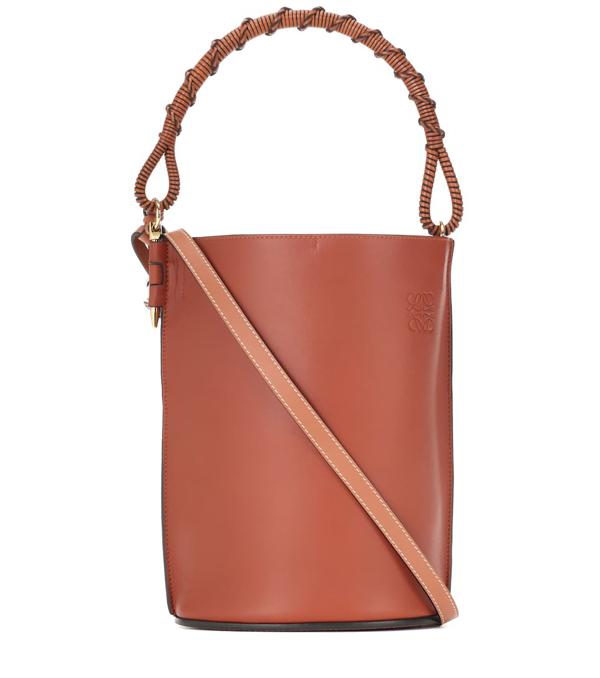 Loewe Gate Leather Bucket Bag In Brown