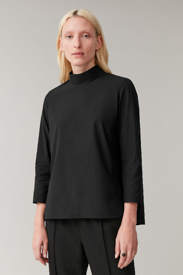 Cos Cotton High-neck Top In Black