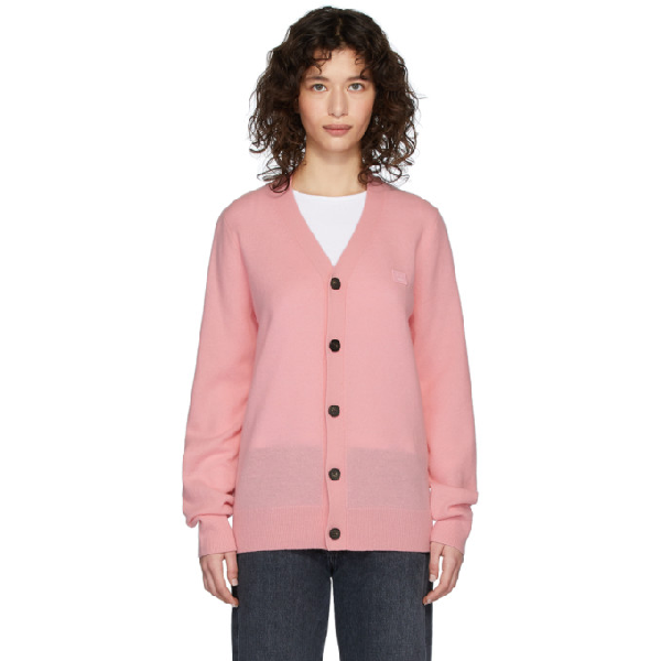 Acne Studios Keva Face Knitted Wool Cardigan In Blush Pink