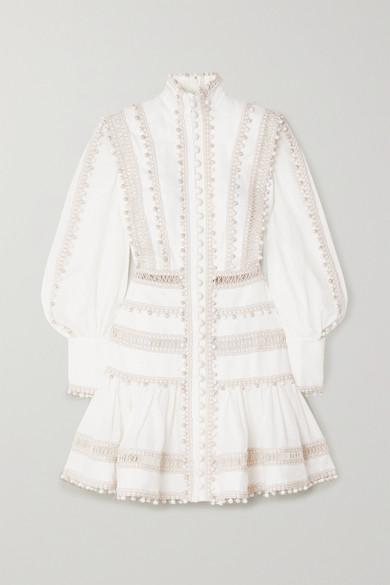 Zimmermann 'super Eight' Corded Bishop Sleeves Ramie Mini Dress In Ivory